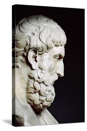 Bust Sculpture of Epicurus--Stretched Canvas Print