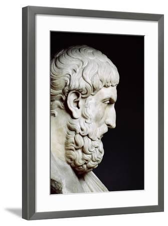 Bust Sculpture of Epicurus--Framed Premium Photographic Print