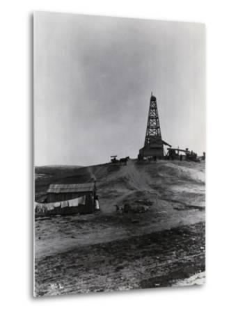 Early Oil Drilling Operation--Metal Print