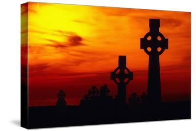 Celtic Crosses Silhouetted at Sunset-Carl Purcell-Stretched Canvas Print