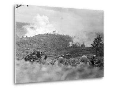 Infantrymen Lying on Ground at Lookout-Sam Goldstein-Metal Print
