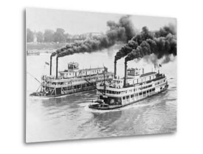 Aerial View of Steamboats Racing--Metal Print