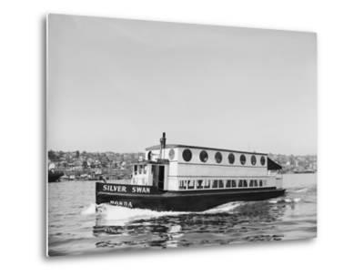 The Silver Swan on Lake Union-Ray Krantz-Metal Print
