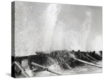 Waves Dashing against Breakwater-Philip Gendreau-Stretched Canvas Print