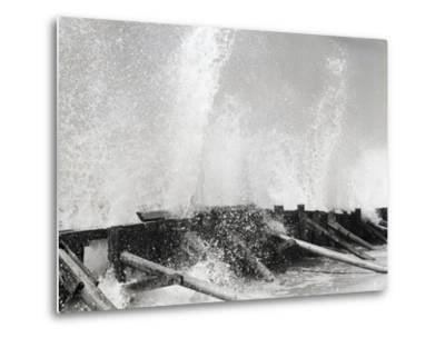 Waves Dashing against Breakwater-Philip Gendreau-Metal Print