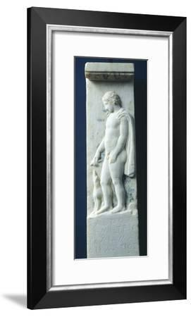 Marble Funerary Stele with Relief Depicting Young Deceased Man and Inscription--Framed Giclee Print
