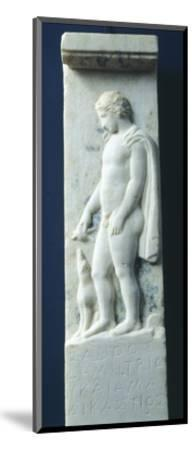 Marble Funerary Stele with Relief Depicting Young Deceased Man and Inscription--Mounted Giclee Print
