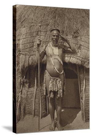 Postcard Depicting a Zulu Headman--Stretched Canvas Print