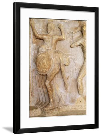 Fragment of Frieze Portraying Three-Bodied Geryon, from Theatre at Delphi, Greece--Framed Giclee Print