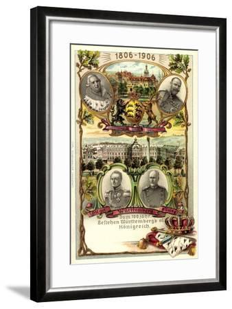 Präge Litho Stuttgart,Adel Württemberg, Schloss, Stadt--Framed Giclee Print