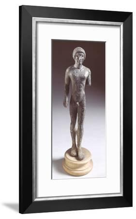 Bronze Statuette Depicting a Kouros, Front View, 480-460 BC--Framed Giclee Print