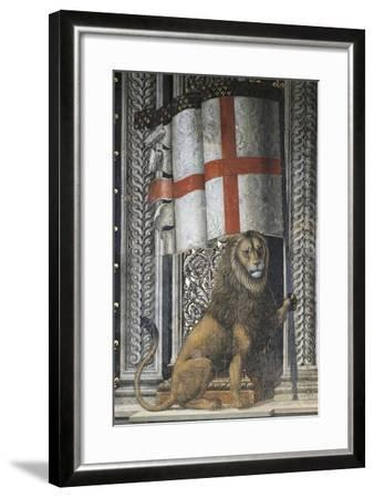 Lion Holding Up Coat of Arms--Framed Giclee Print