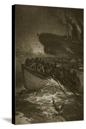 Passengers Leaving the Titanic in the Life-Boats--Stretched Canvas Print