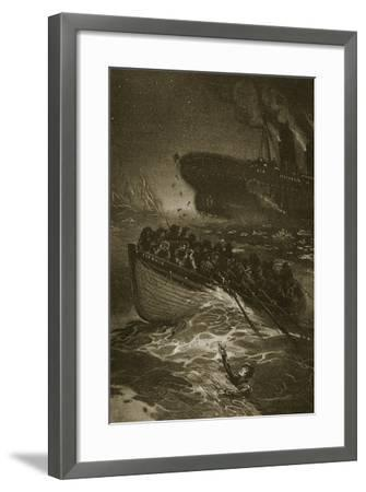 Passengers Leaving the Titanic in the Life-Boats--Framed Giclee Print