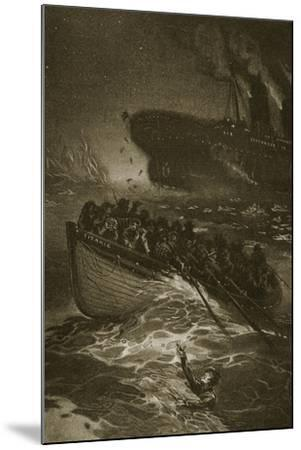 Passengers Leaving the Titanic in the Life-Boats--Mounted Giclee Print