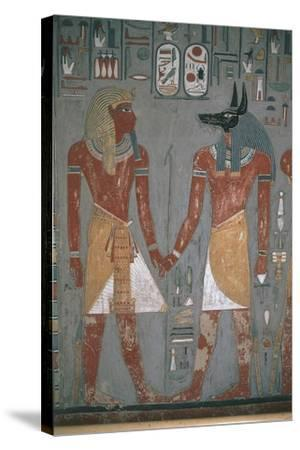 Pharaoh and Anpu Holding Hands--Stretched Canvas Print