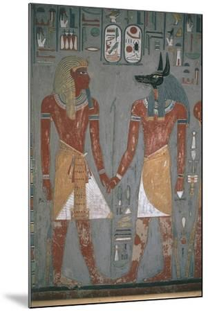 Pharaoh and Anpu Holding Hands--Mounted Giclee Print