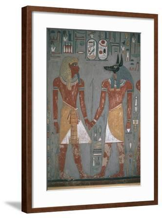 Pharaoh and Anpu Holding Hands--Framed Giclee Print