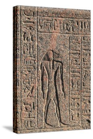 Inscription and Relief of Anubis and Another God, Amenhotep's Sarcophagus, Memphis--Stretched Canvas Print