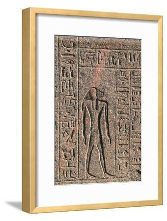 Inscription and Relief of Anubis and Another God, Amenhotep's Sarcophagus, Memphis--Framed Photographic Print