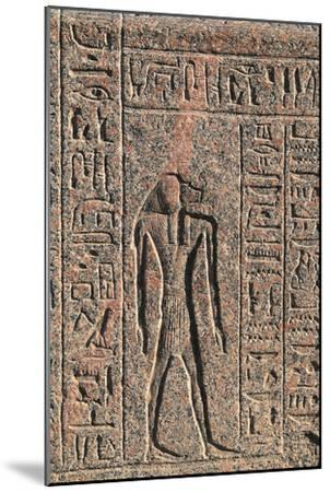 Inscription and Relief of Anubis and Another God, Amenhotep's Sarcophagus, Memphis--Mounted Photographic Print