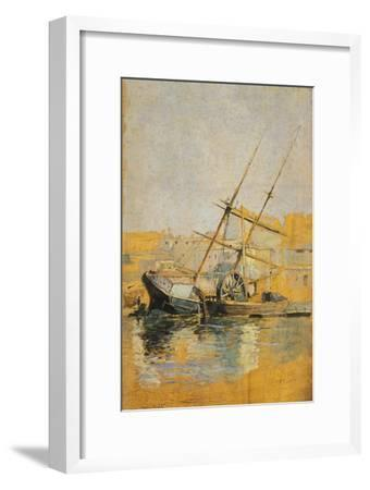 Sailing Ship with Wheel at Dock, 1900-1910--Framed Giclee Print