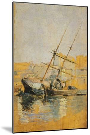 Sailing Ship with Wheel at Dock, 1900-1910--Mounted Giclee Print