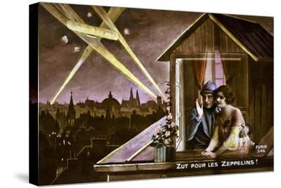 Damn the Zeppelins!, 1915--Stretched Canvas Print
