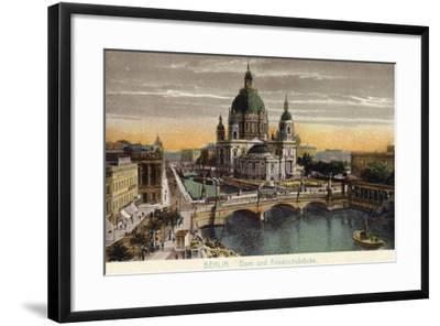 The Dome of the Royal Palace and Friedrichsbrucke in Berlin--Framed Photographic Print