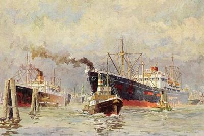 Künstler Wenskus, Claus, Hamburger Hafen, Dampfer--Framed Giclee Print