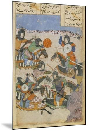 Scene of Battle Between Knights, Miniature from the Persian Tragic Romance of Khosrow and Shirin--Mounted Giclee Print