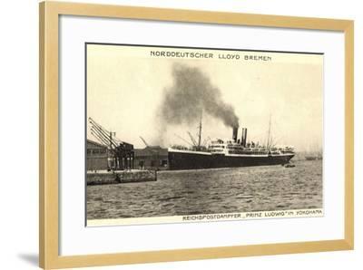 Yokohama Japan, Lloyd Bremen, Dampfer Prinz Ludwig--Framed Giclee Print