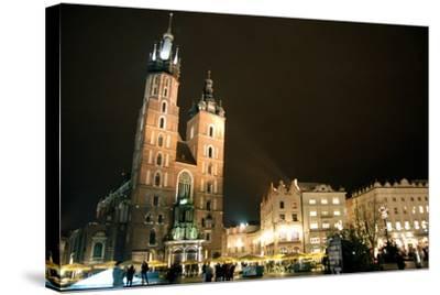 St. Mary's Basilica, Market Square, Krakow, Poland--Stretched Canvas Print