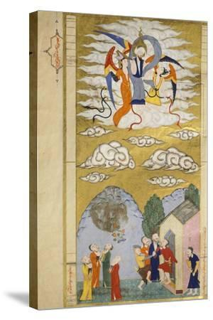The Ascension, the Prophet Muhhamed Being Carried to Heaven by the Archangel Gabriel--Stretched Canvas Print