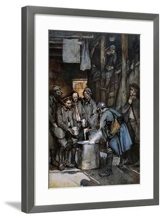 German Pows in French Hands at Souville Receive Food Rations, 1916--Framed Giclee Print