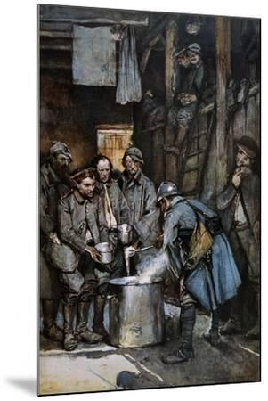 German Pows in French Hands at Souville Receive Food Rations, 1916--Mounted Giclee Print