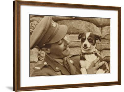 Canadian Soldier with a Dog 'Captured' at Courcelette, Somme, France, World War I--Framed Photographic Print