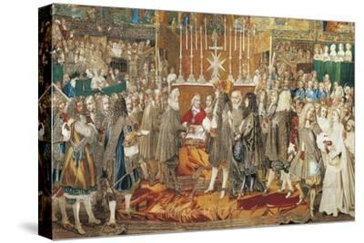 The Renewal of the Alliance Between France and Switzerland in Notre Dame in Paris--Stretched Canvas Print