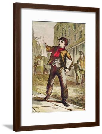 Newspaper Boy--Framed Giclee Print