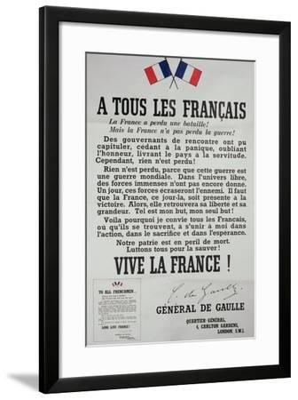 First Poster for the 18th June 1940 Address by General Charles De Gaulle--Framed Giclee Print