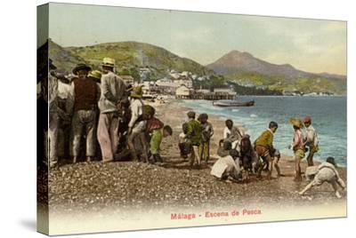 Fishing Scene, Malaga, Spain--Stretched Canvas Print