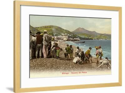 Fishing Scene, Malaga, Spain--Framed Photographic Print