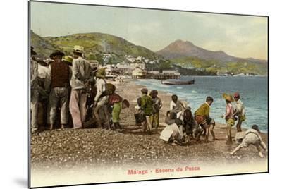 Fishing Scene, Malaga, Spain--Mounted Photographic Print