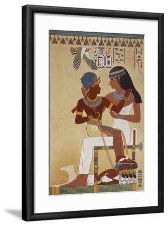 Amenhotep II and His Housekeeper, Copy of a Fresco Dating Back to 18th Dynasty Theban--Framed Giclee Print