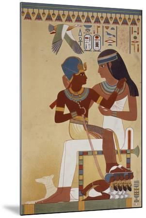 Amenhotep II and His Housekeeper, Copy of a Fresco Dating Back to 18th Dynasty Theban--Mounted Giclee Print