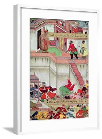 Adham Khan Being Thrown from the Walls of Agra, from the `Akbarnama', Mughal--Framed Giclee Print