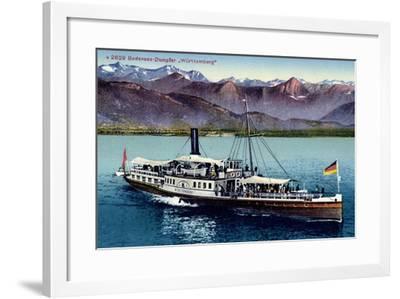 Bodensee, Dampfer Württemberg in Fahrt, Gebirge--Framed Giclee Print