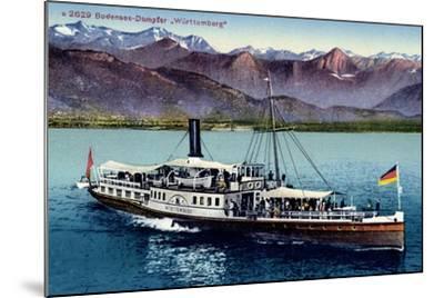 Bodensee, Dampfer Württemberg in Fahrt, Gebirge--Mounted Giclee Print