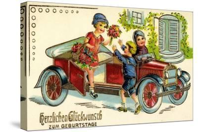 Präge Glückwunsch Geburtstag, Auto, Kind, Blumen--Stretched Canvas Print