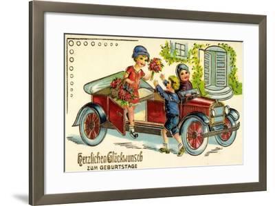 Präge Glückwunsch Geburtstag, Auto, Kind, Blumen--Framed Giclee Print